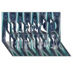 Blue Turquoise Zigzag Pattern Happy Birthday 3D Greeting Card (8x4)