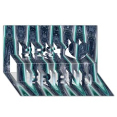 Blue Turquoise Zigzag Pattern Best Friends 3D Greeting Card (8x4)
