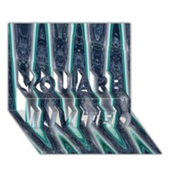 Blue Turquoise Zigzag Pattern YOU ARE INVITED 3D Greeting Card (7x5)