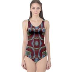 Fancy Maroon Blue Design One Piece Swimsuit