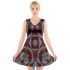 Fancy Maroon Blue Design V-Neck Sleeveless Skater Dress