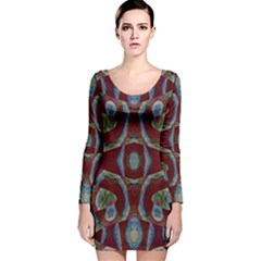 Fancy Maroon Blue Design Long Sleeve Velvet Bodycon Dress