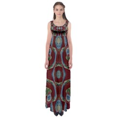 Fancy Maroon Blue Design Empire Waist Maxi Dress