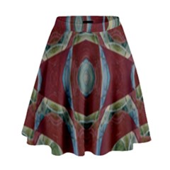 Fancy Maroon Blue Design High Waist Skirt