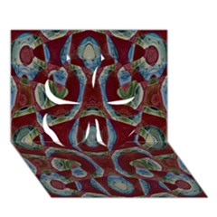Fancy Maroon Blue Design Clover 3D Greeting Card (7x5)