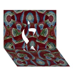 Fancy Maroon Blue Design Ribbon 3D Greeting Card (7x5)