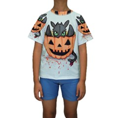 Halloween Dragon Kid s Short Sleeve Swimwear