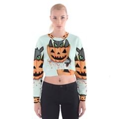Halloween Dragon Women s Cropped Sweatshirt