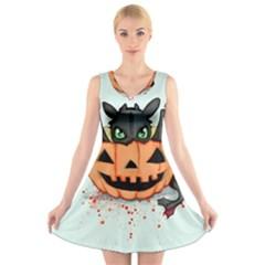 Halloween Dragon V-Neck Sleeveless Skater Dress