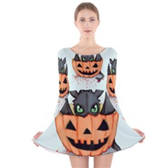 Halloween Dragon Long Sleeve Velvet Skater Dress