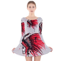 Savages Long Sleeve Velvet Skater Dress