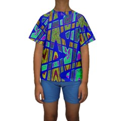 Bright Blue Mod Pop Art  Kid s Short Sleeve Swimwear