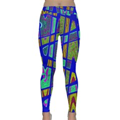 Bright Blue Mod Pop Art  Yoga Leggings