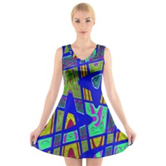 Bright Blue Mod Pop Art  V-Neck Sleeveless Skater Dress