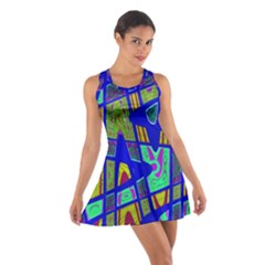 Bright Blue Mod Pop Art  Racerback Dresses