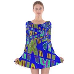 Bright Blue Mod Pop Art  Long Sleeve Velvet Skater Dress