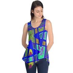 Bright Blue Mod Pop Art  Sleeveless Tunic