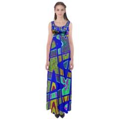 Bright Blue Mod Pop Art  Empire Waist Maxi Dress