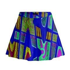 Bright Blue Mod Pop Art  Mini Flare Skirt