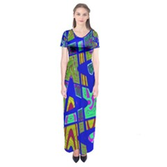 Bright Blue Mod Pop Art  Short Sleeve Maxi Dress