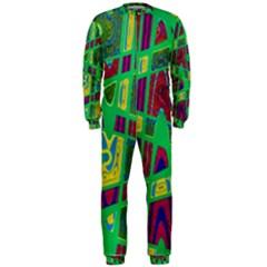 Bright Green Mod Pop Art OnePiece Jumpsuit (Men)