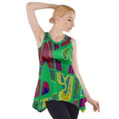 Bright Green Mod Pop Art Side Drop Tank Tunic