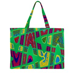 Bright Green Mod Pop Art Large Tote Bag