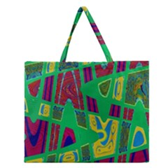 Bright Green Mod Pop Art Zipper Large Tote Bag