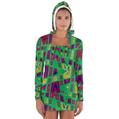 Bright Green Mod Pop Art Women s Long Sleeve Hooded T-shirt