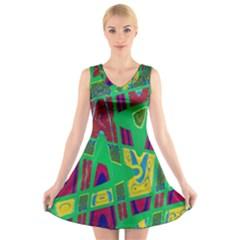 Bright Green Mod Pop Art V Neck Sleeveless Skater Dress