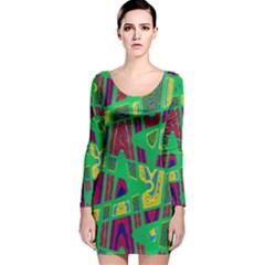 Bright Green Mod Pop Art Long Sleeve Velvet Bodycon Dress