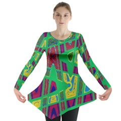Bright Green Mod Pop Art Long Sleeve Tunic