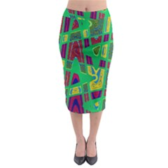 Bright Green Mod Pop Art Midi Pencil Skirt