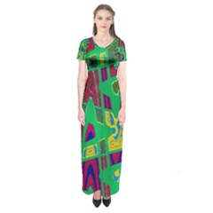 Bright Green Mod Pop Art Short Sleeve Maxi Dress