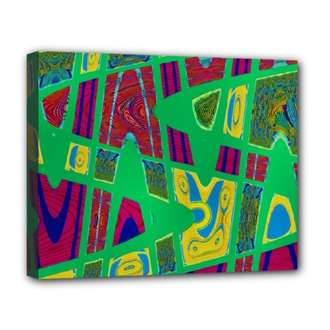 Bright Green Mod Pop Art Deluxe Canvas 20  x 16