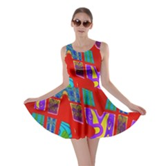 Bright Red Mod Pop Art Skater Dress