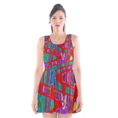 Bright Red Mod Pop Art Scoop Neck Skater Dress