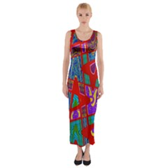 Bright Red Mod Pop Art Fitted Maxi Dress