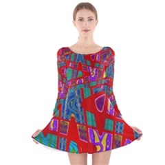 Bright Red Mod Pop Art Long Sleeve Velvet Skater Dress