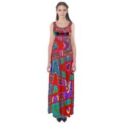Bright Red Mod Pop Art Empire Waist Maxi Dress