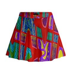 Bright Red Mod Pop Art Mini Flare Skirt
