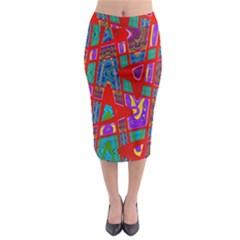Bright Red Mod Pop Art Midi Pencil Skirt