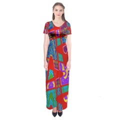 Bright Red Mod Pop Art Short Sleeve Maxi Dress