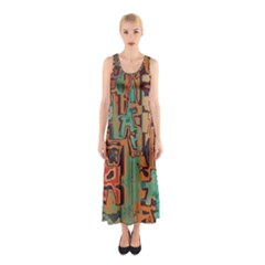 Brown Green Texture                              Full Print Maxi Dress