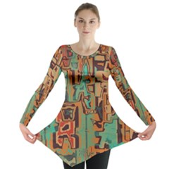 Brown green texture                              Long Sleeve Tunic