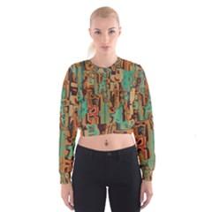 Brown green texture                                Women s Cropped Sweatshirt
