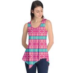 Pink blue rhombus pattern                               Sleeveless Tunic