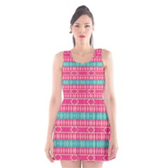 Pink blue rhombus pattern                               Scoop Neck Skater Dress