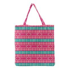 Pink Blue Rhombus Pattern                               Grocery Tote Bag