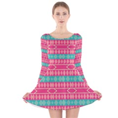 Pink Blue Rhombus Pattern                               Long Sleeve Velvet Skater Dress